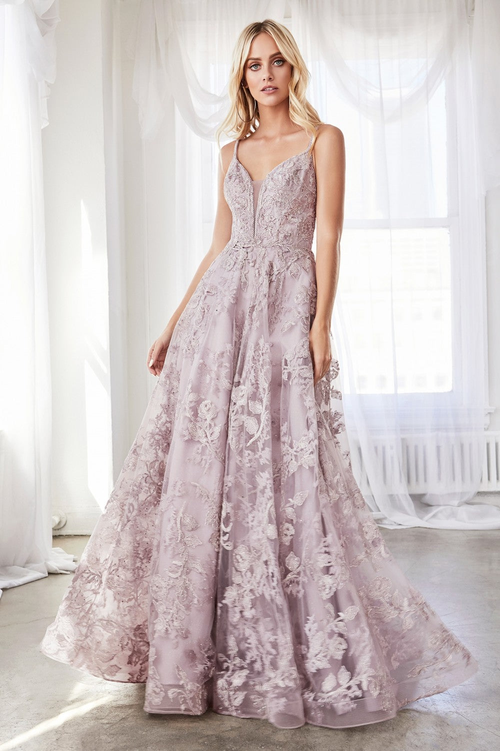 CD CD902 - A-Line Ball Gown with Plunging V-Neck Spaghetti Straps & Layered Lace Applique Skirt - Diggz Prom