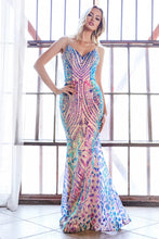 Cinderella Divine Chart I CD CD904 - Fit & Flare sequin Print Prom Gown with Iridescent Pattern & Sheer Illusion Sides - Diggz Prom