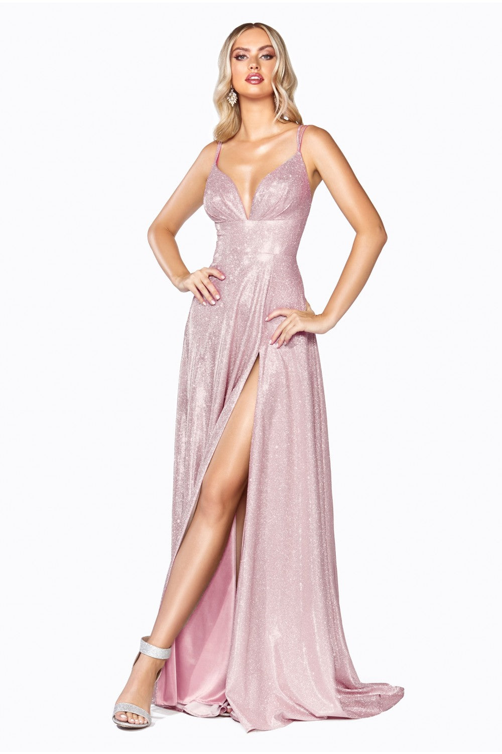Cinderella Divine Chart I CD CD906 - Glitter Metallic A-line dress with V-Neck Spaghetti Straps & Leg Slit - Diggz Prom
