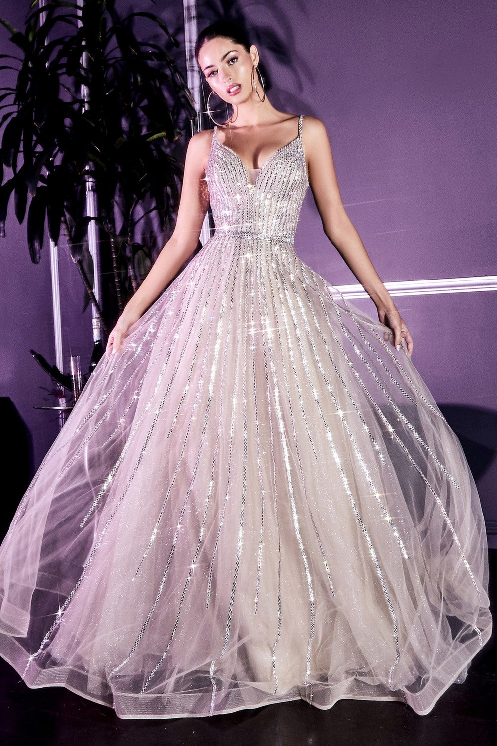 CD CD940 - A Line Glitter Tulle Prom Gown Fully Beaded & Plunging Open Back