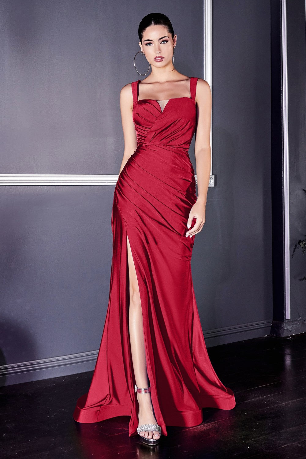 CD CD941C - Plus Size Stretch Satin Fit & Flare Prom Gown with Illusion Bateau Neck Ruched Waist & Leg Slit - Diggz Prom