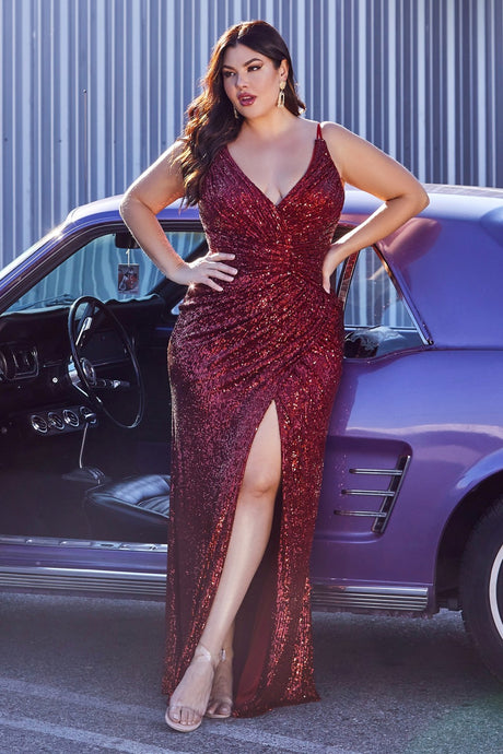 CD CDS345C - Plus Fit & Flare Prom Gown with Full Sequin & High Leg Slit - Diggz Prom