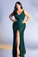 CD CDS345C - Plus Fit & Flare Prom Gown with Full Sequin & High Leg Slit