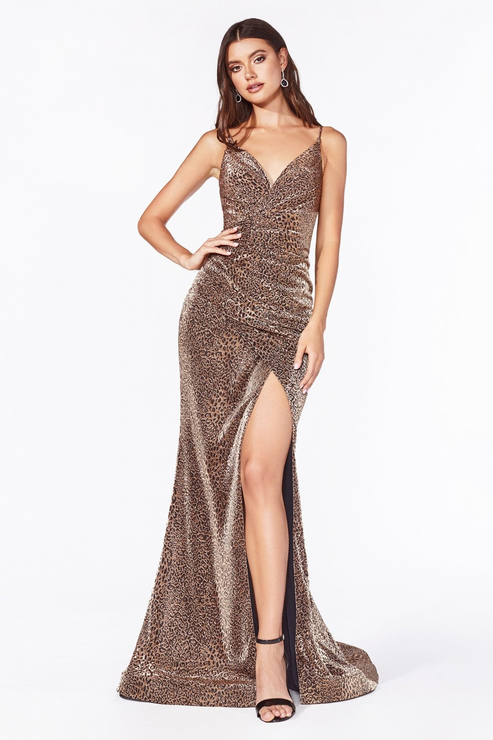 Cinderella Divine Chart I CD CDS347 - Fitted leopard print dress with a gathered waistline and leg slit. - Diggz Prom