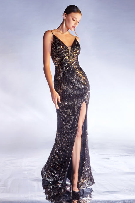 CD CDS404 - Black & Gold Fully Sequined Fit & Flare with V-Neck Low Open Back & Leg Slit - Diggz Prom