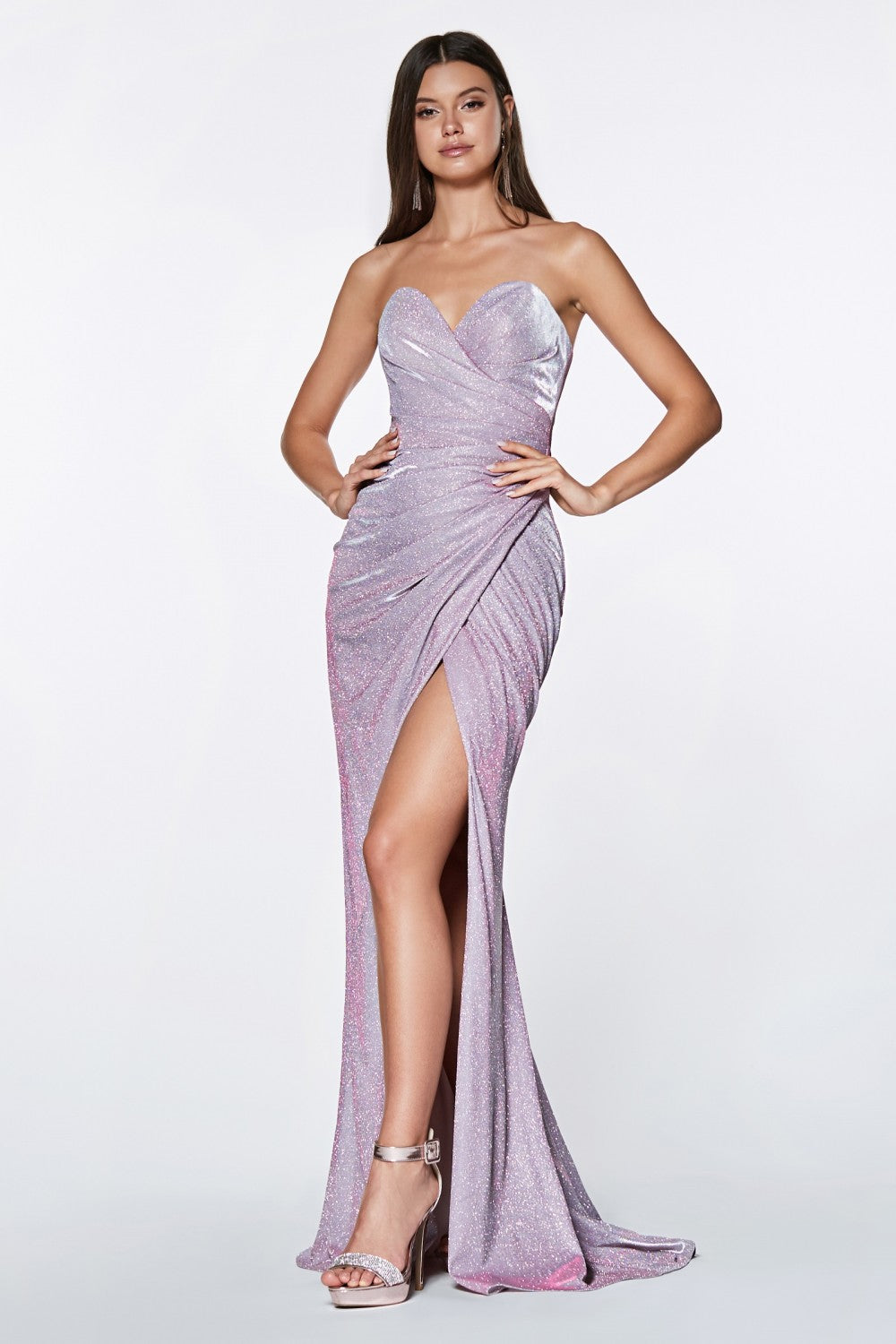 Cinderella Divine Chart I CD CE0019 - Strapless Glitter Gown with Sweetheart Neckline and Leg Slit - Diggz Prom