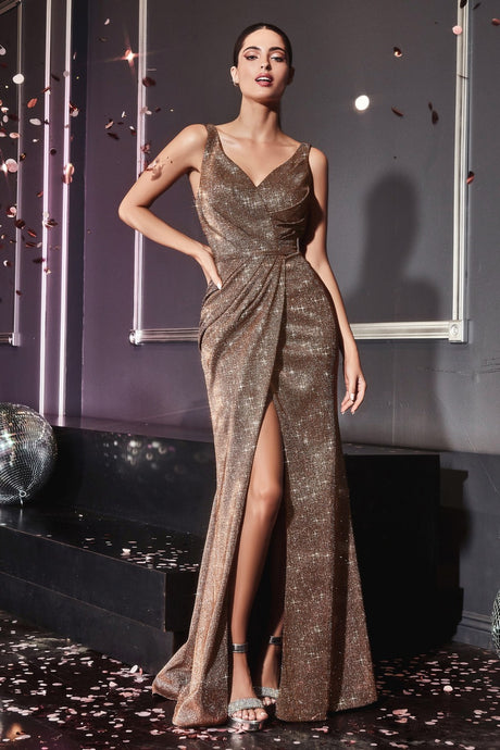 CD CF165 - Fit & Flare Prom Gown with Metallic Glitter Fabric & High Leg Slit