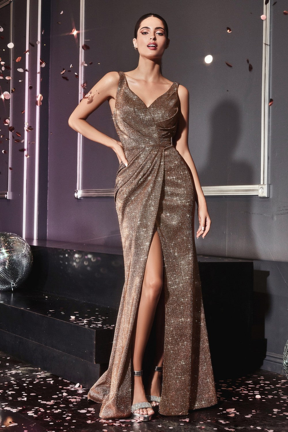 CD CF165 - Fit & Flare Prom Gown with Metallic Glitter Fabric & High Leg Slit - Diggz Prom