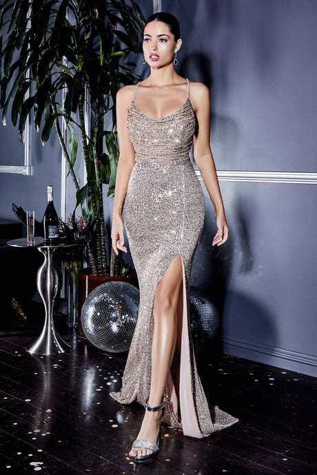CD CF199 - Fitted Sequin Prom Gown with Cowl Neckline & High Leg Slit