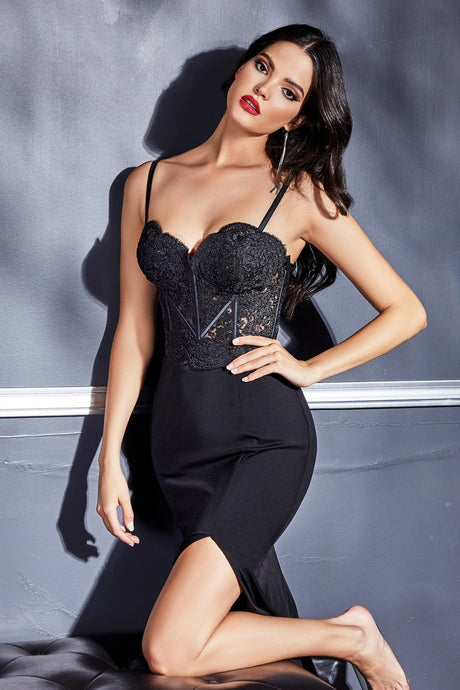 CD CF266 - Fitted Prom Gown with Lace Corset Bodice & High Leg Slit - Diggz Prom
