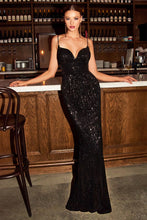 CD CH180 - Iridescent Full Sequin Fit & Flare Prom Gown with V-Neck & Leg Slit - Diggz Prom