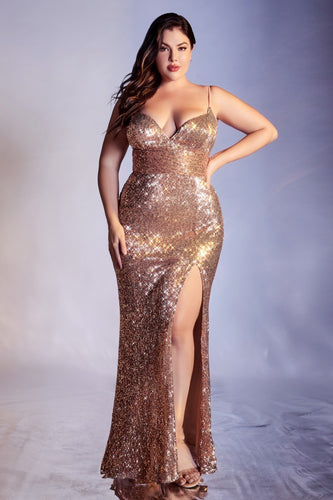 CD CH180C - Plus Size Full Sequin Fit & Flare Prom Gown with V-Neck & Leg Slit