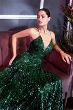 CD CH189 - A Line Prom Gown with Pleated Skirt and Bodice & Full Sequin Detail - Diggz Prom