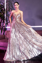 CD CH189 - A Line Prom Gown with Pleated Skirt and Bodice & Full Sequin Detail