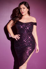 CD CH190C - Plus Off the Shoulder Formal Gown with Full Sequin & Asymmetrical Hemline