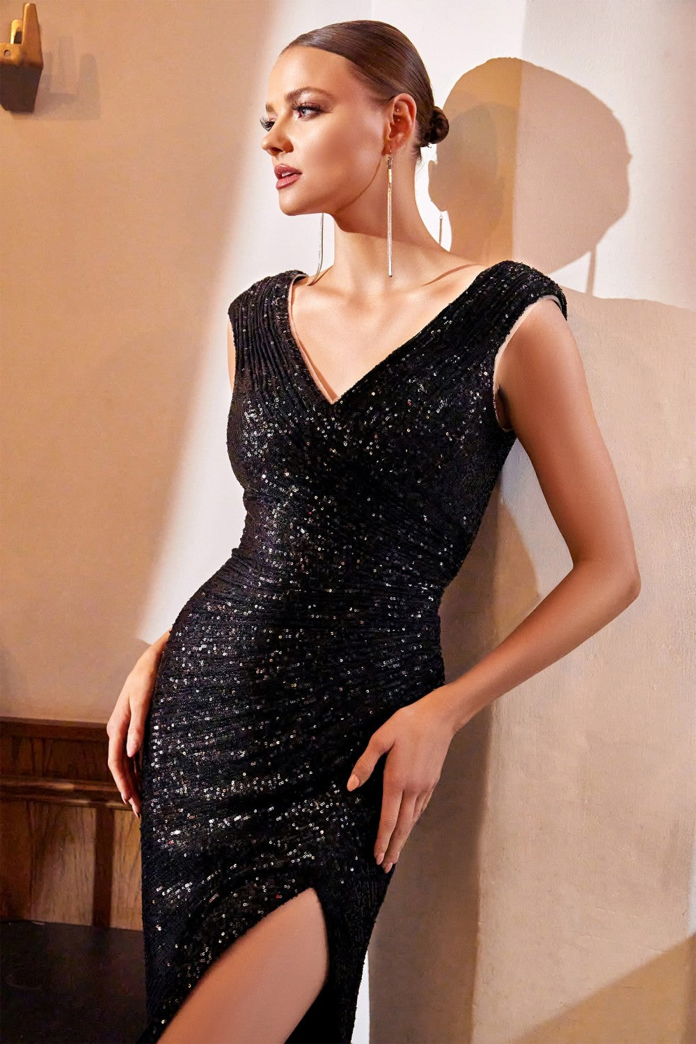 CD CH198 - Full Sequin Fit & Flare Prom Gown with Ruched Waist & Leg SLit