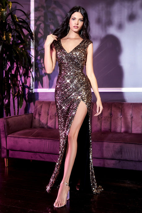 CD CH198 - Full Sequin Fit & Flare Prom Gown with Ruched Waist & Leg SLit - Diggz Prom
