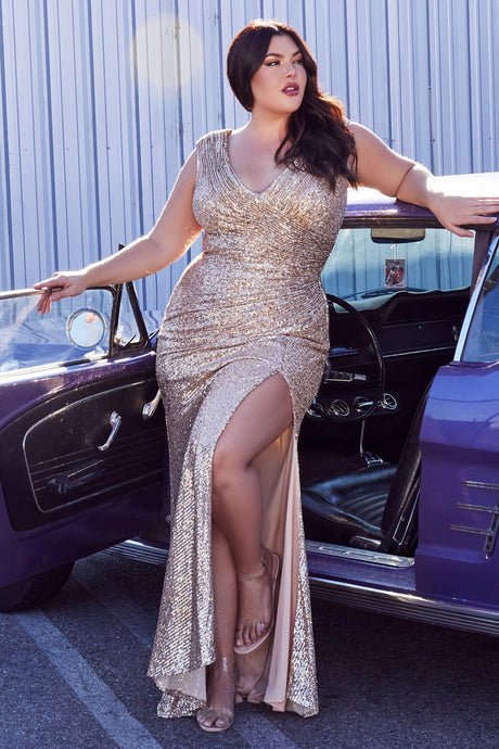 CD CH198C - Full Sequin Fit & Flare Plus Size Prom Gown with Ruched Waist V-Neck & Leg Slit