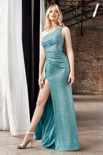 CD CH202 - Fitted Prom Gown with One Shoulder Strap and High Leg Slit