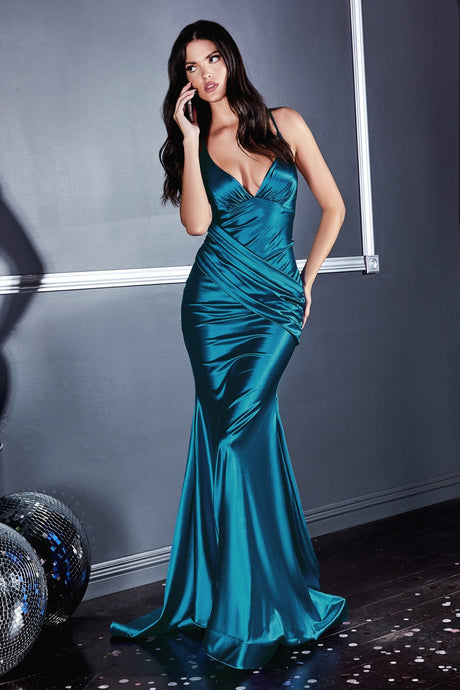 CD CH236 - Mermaid Satin Prom Gown with Gathered Ruched Waist & Criss Cross Back - Diggz Prom