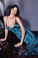CD CH236 - Mermaid Satin Prom Gown with Gathered Ruched Waist & Criss Cross Back