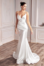 CD CH236W - Mermaid Satin Wedding Gown with Gathered Ruched Waist & Criss Cross Back