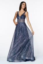 Cinderella Divine Chart I CD CJ256 - A-Line Glitter Ballgown with V-Neck Beaded Belts & Sheer Sides - Diggz Prom