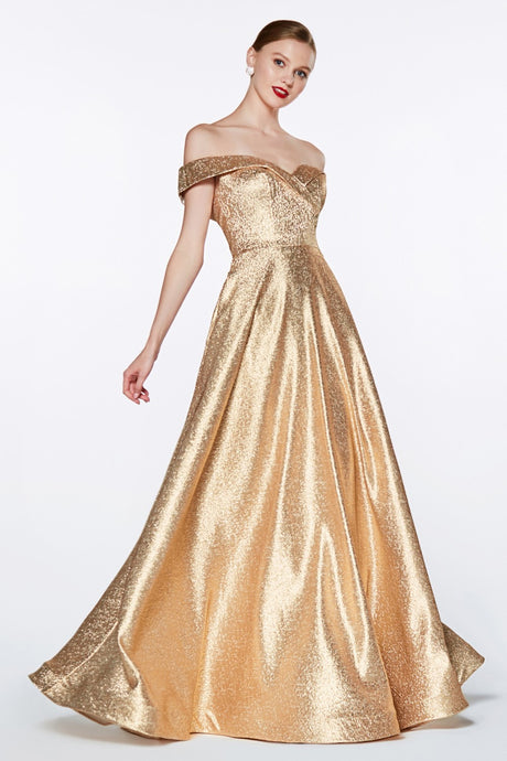 Cinderella Divine Chart I CD CJ268 - Off The Shoulder Metallic Ball Gown with Sweetheart Neckline and Pockets - Diggz Prom