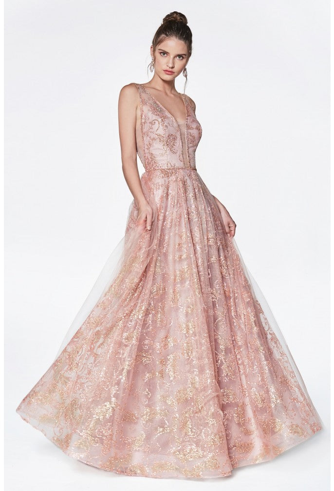 CD CJ271 - Glitter Print Ball Gown with Deep Plunging Neckline & Illusion Sheer Sides - Diggz Prom