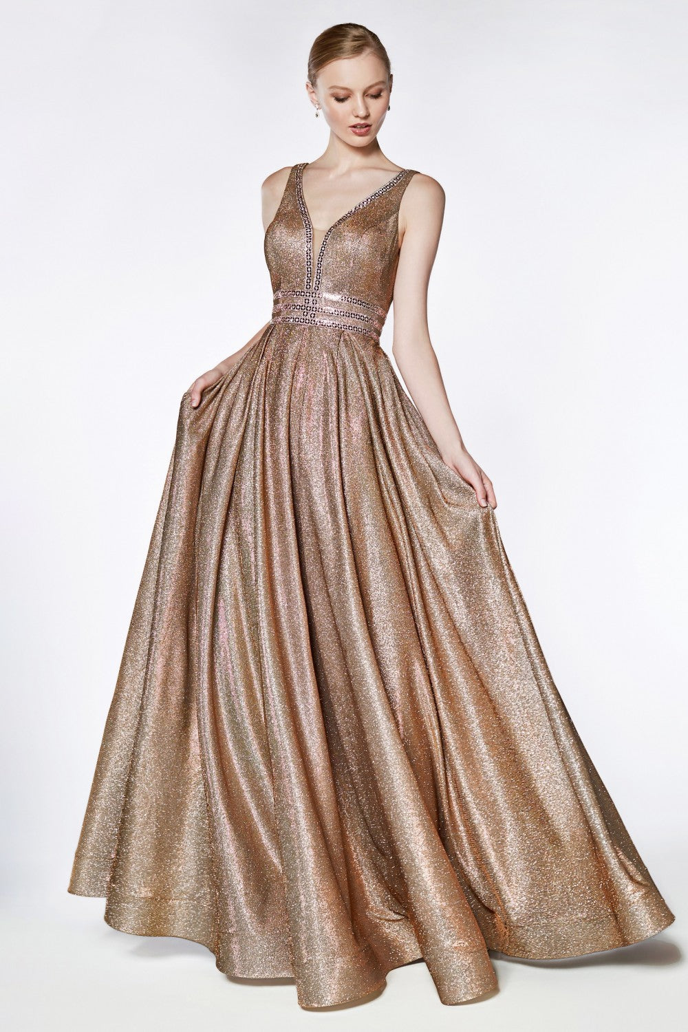 Cinderella Divine Chart I CD CJ 505 - A-Line Metallic Ball Gown with Beaded Bodice Detail & Deep V-Neckline - Diggz Prom
