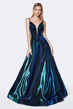 Cinderella Divine Chart I CD CJ506 - Metallic Iridescent Ball Gown with V-Neck Spaghetti Straps & Open Back - Diggz Prom