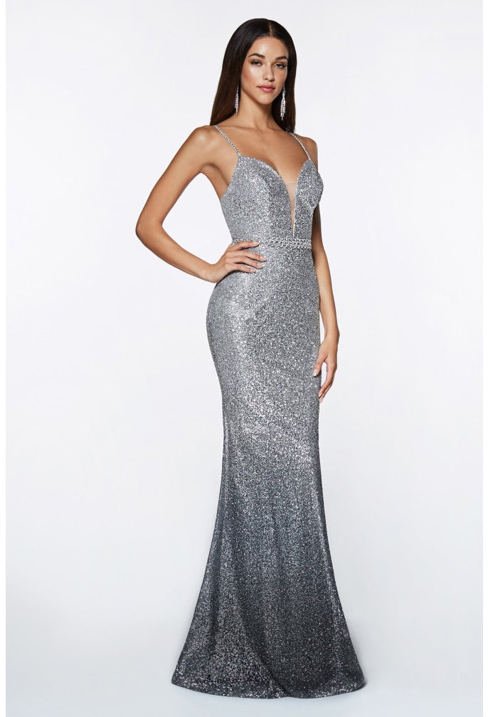 Cinderella Divine Chart I CD CJ509 - Metallic Ombre Fit & Flare Prom Gown with V-Neck & Beaded Belt - Diggz Prom