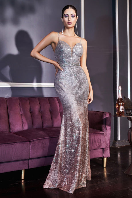 CD CJ509 - Metallic Ombre Fit & Flare Prom Gown with V-Neck & Beaded Belt & Straps - Diggz Prom