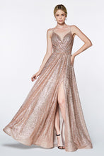 CD CJ510 - Glittery A-Line Prom Gown with V-Neck Pleated Bodice & Leg Slit - Diggz Prom