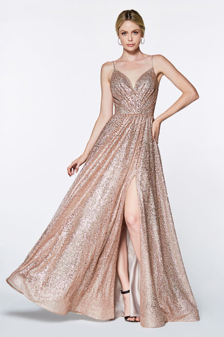 Cinderella Divine Chart I CD CJ 510 - A-Line Fully Glittered Gown with Sweetheart Neckline & Leg Slit - Diggz Prom