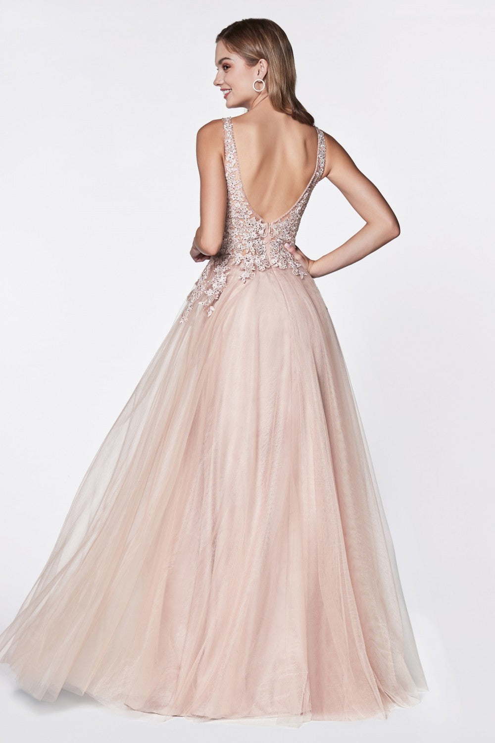 Cinderella Divine Chart I CD CJ 511 - Tulle A-Line Gown with Deep Neckline & Jeweled Lace Details - Diggz Prom