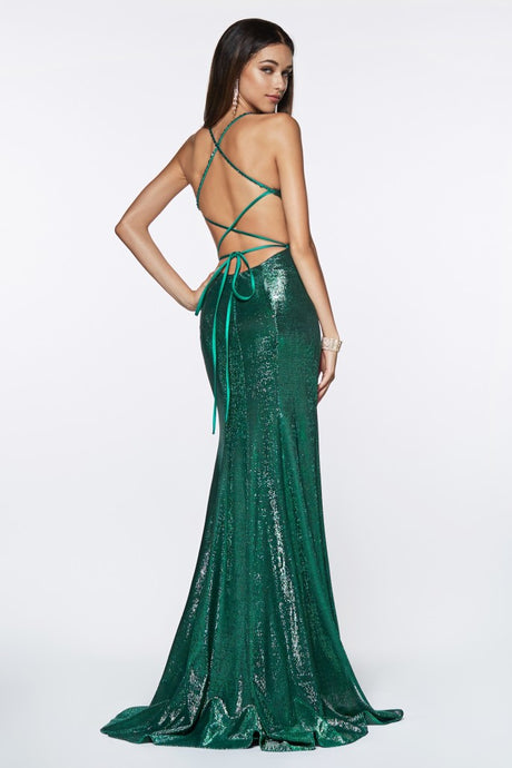 Cinderella Divine Chart I CD CJ 512 - Fitted Metallic Gown with Criss-Cross Beaded Back and Leg Slit - Diggz Prom