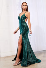 CD CJ512 - Metallic Fit & Flare Prom Gown with V-Neck Spaghetti Strap Lace Up Corset & Leg Slit