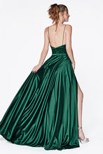 CD CJ523 - A Line Satin Prom Gown with Sweetheart Neckline & Leg Slit