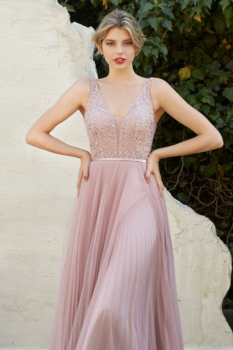 Cinderella Divine Chart I CD Cj535 - A-line Prom Gown with Bead Embellished Bodice Open Back & Pleated Skirt - Diggz Prom