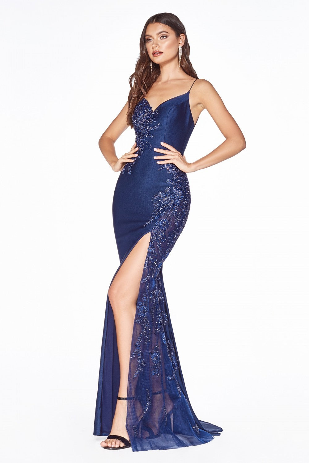Cinderella Divine Chart I CD CM311 - Fit & Flare Prom Gown with Lace Covered Cut Outs Corset Back & Leg Slit - Diggz Prom