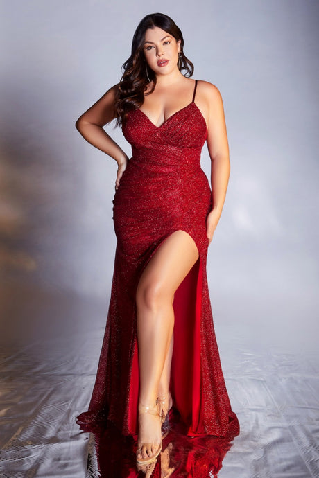 CD CM8017C - Burgundy Full Sequin Plus Size Fit & Flare with Ruched Waistline V-Neck & Leg Slit - Diggz Prom