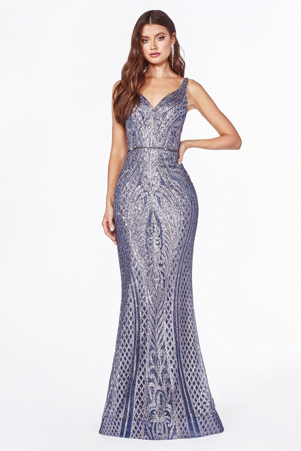 CD CM9041 - Glittery Art Deco Print Fit & Flare with V-Neck & Open Back - Diggz Prom