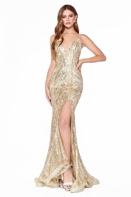 Cinderella Divine Chart I CD CR844 - Fitted Mermaid Gown with Glitter Patterned Detail Leg Slit and Open Back - Diggz Prom