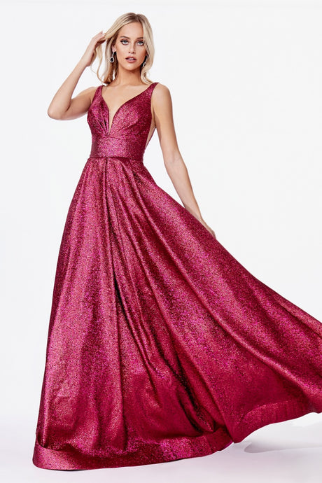 CD CR850 - A-Line Metallic Gown with Pleated Bustline and Pockets