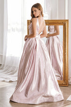 Cinderella Divine Chart I CD CR850 - A-Line Metallic Gown with Pleated Bustline and Pockets - Diggz Prom