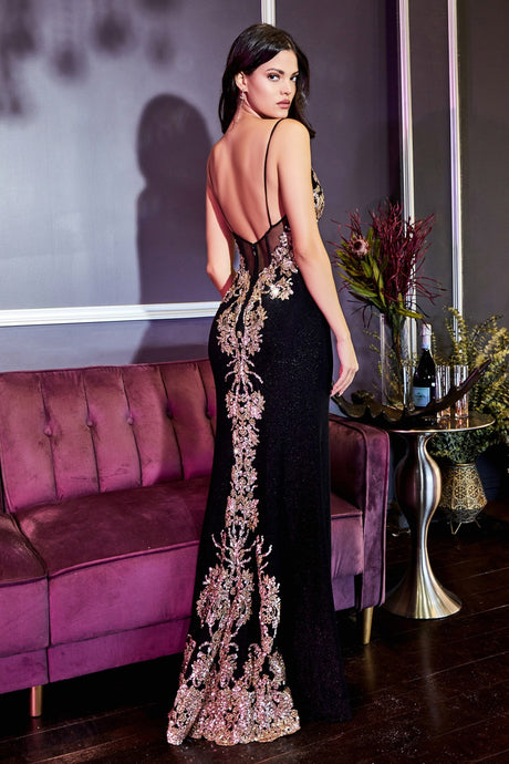 CD CR856 - Gold Lace Embellished Black Metallic Fit & Flare with Sheer Corset Bodice Leg Slit & Gold Embellished Train - Diggz Prom