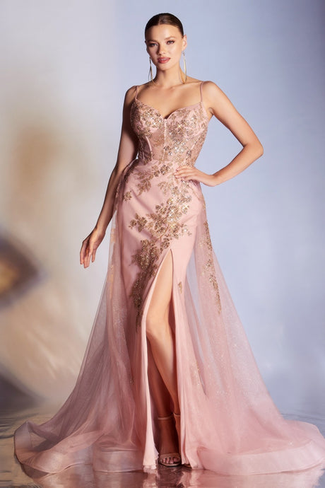 CD CR857 - Rose Gold Glittery Fit & Flare with Sheer Corset Bodice Leg Slit & Overskirt - Diggz Prom