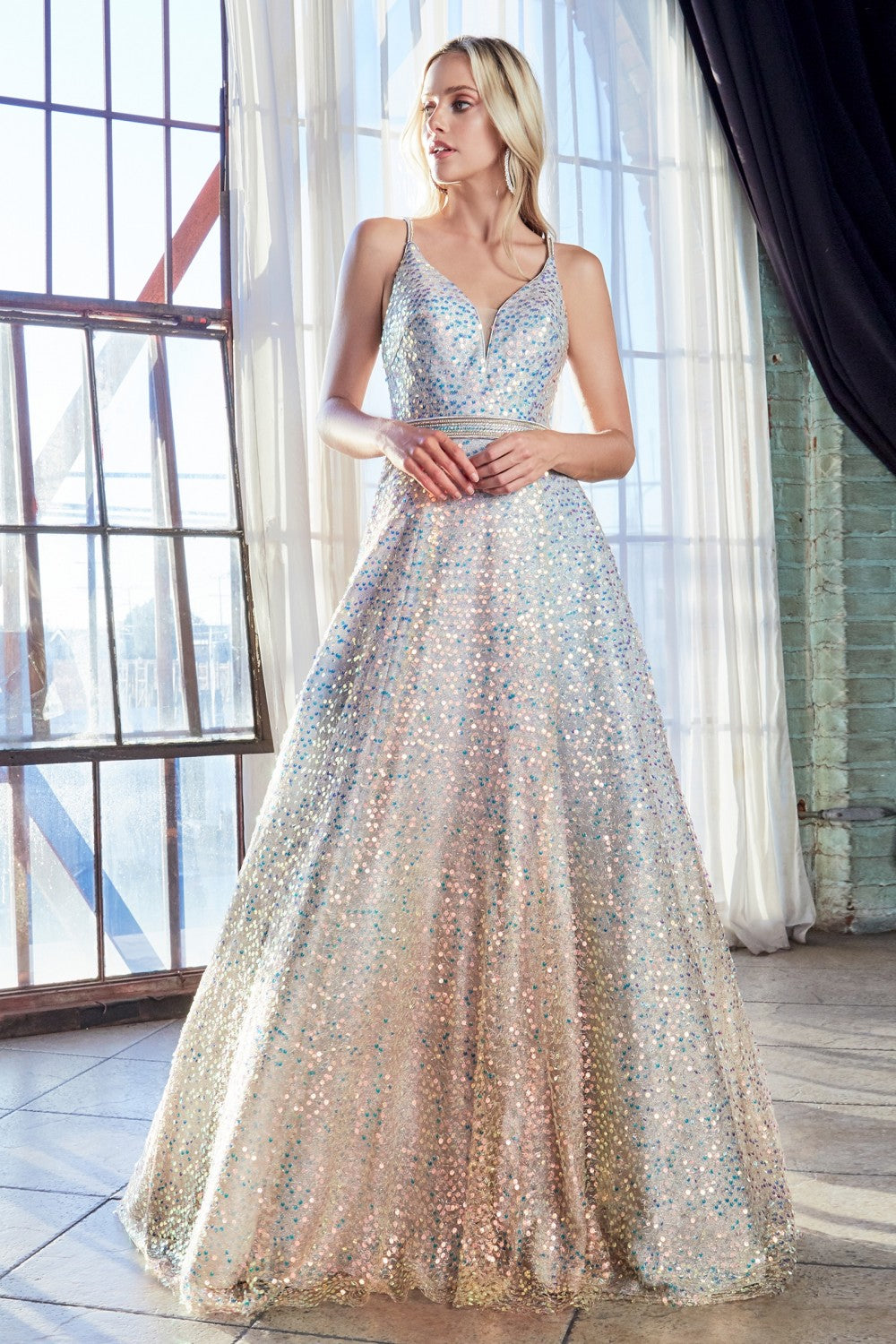 CD CW148 - A Line Ball Gown with Full Opal Sequin & Criss Cross Back - Diggz Prom