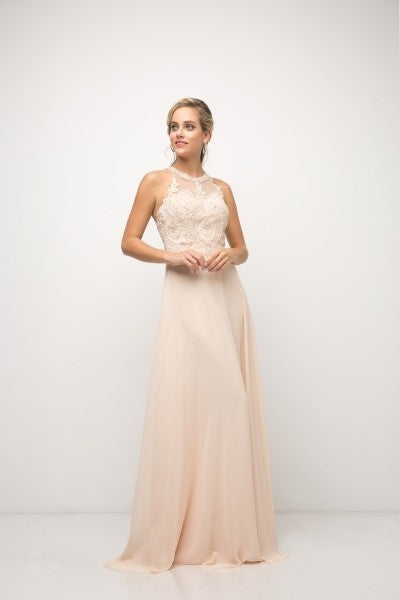 Cinderella Divine Chart I CD UJ 0120 - Illusion Neckline & Strappy Back With Chiffon A-Line Skirt - Diggz Prom